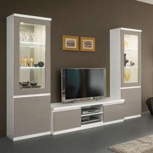 Regal Living Room Set In White And Grey With High Gloss LED