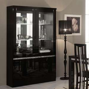 Regal Display Cabinet In Black Gloss Lacquer Crystal Decor LED