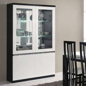 Regal Display Cabinet In Black White Gloss And Crystal Decor LED