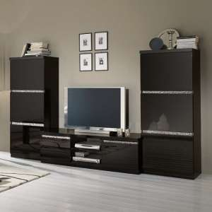 Regal Living Set 1 In Black With Gloss Lacquer Crystal Details