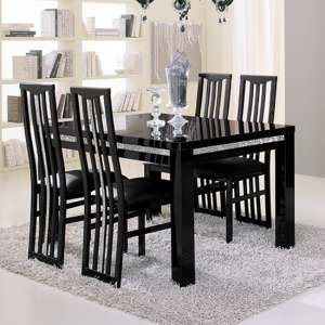 Regal Crystal Details Black Gloss Dining Table 6 Black Chairs