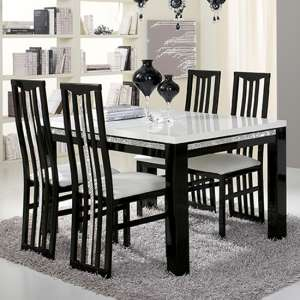 Regal Crystal Details Black Gloss Dining Table With 6 Chairs