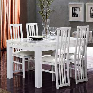 Regal Crystal Details White Gloss Dining Table With 4 Chairs