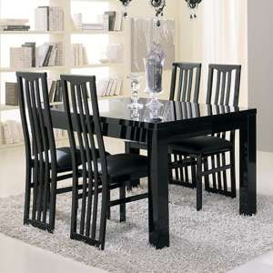 Regal Dining Table In Gloss Black With 6 Cexa Black Chairs