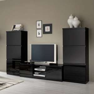 Regal Living Room Set 1 In Black With High Gloss Lacquer