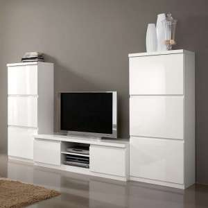 Regal Living Room Set 1 In White With High Gloss Lacquer