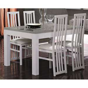 Regal Gloss White And Grey Dining Table 6 Cexa White Chairs
