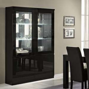 Regal Display Cabinet In Black With High Gloss Lacquer And LED
