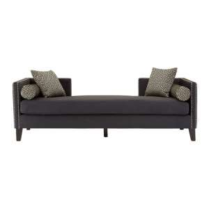 Reginy Velvet 3 Seater Day Bed Sofa In Dark Grey