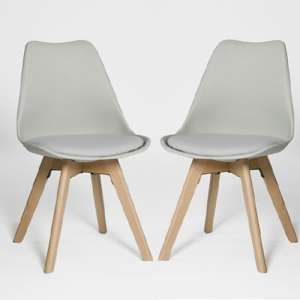 Regis Dining Chair In Grey With Wooden Legs In A Pair