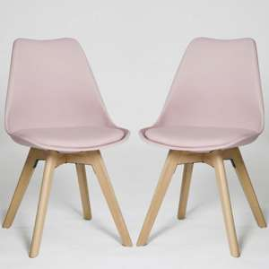 Regis Dining Chair In Pink With Wooden Legs In A Pair