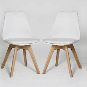 Regis Dining Chair In White With Wooden Legs In A Pair
