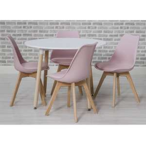 Regis Wooden Dining Table Set In Pink With 4 Chairs