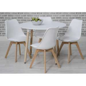 Regis Wooden Dining Table Set In White With 4 Chairs