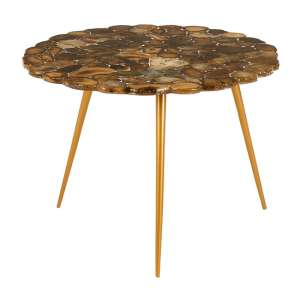 Relics Agate Stone Top Large Side Table With Gold Frame