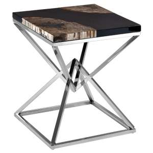 Relics Black Petrified Wooden Side Table With Silver Legs