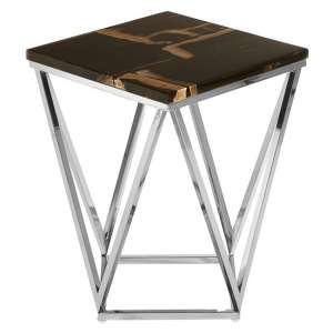 Relics Dark Petrified Square Wooden Side Table In Brown