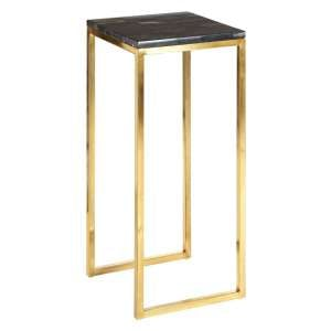 Relics Dark Petrified Wooden Side Table With Gold Frame