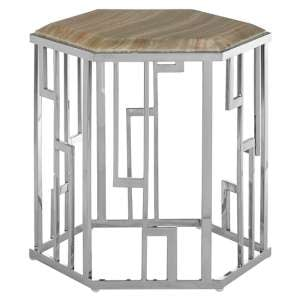 Relics Natural Onyx Stone Hexagonal Side Table With Silver Base