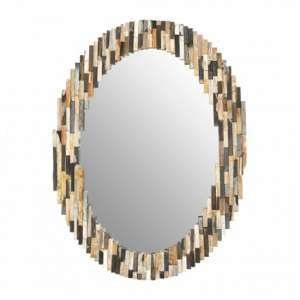 Relics Oval Tile Mosaic Effect Wall Mirror In Multicolor Frame