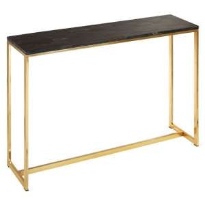 Relics Petrified Wooden Console Table With Gold Frame