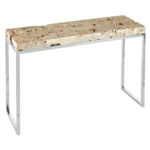 Relics Rectangular Cheese Stone Console Table In Mineral Accent