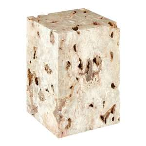 Relics Rectangular Cheese Stone Stool In Mineral Accent