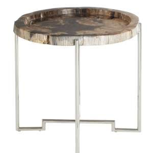 Relics Round Boho Side Table With Stainless Steel Base