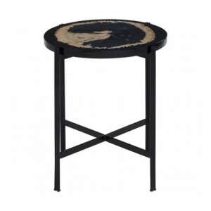 Relics Side Table In Black With Resin Powder Coated Frame