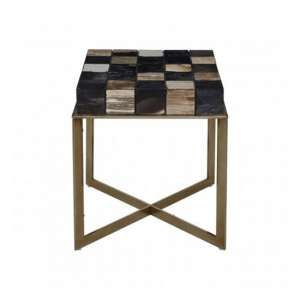 Relics Side Table In Multicolour With Stainless Steel Frame