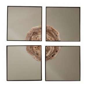 Relics Square 4Pc Mosaic Effect Wall Mirror In Warm Silver Frame