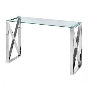 Remus Glass Console Table With Polished Stainless Steel Frame