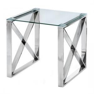 Remus Glass Side Table With Polished Stainless Steel Frame