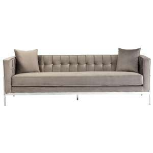 Rena Velvet 3 Seater Sofa In Grey