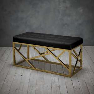 Renata Fabric Dining Bench In Black With Gold Frame