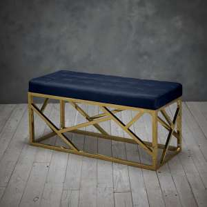 Renata Fabric Dining Bench In Blue With Gold Frame