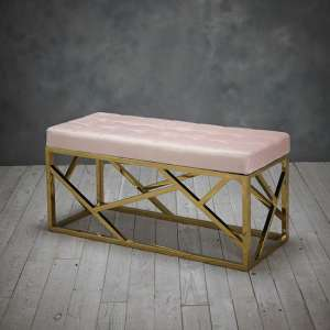 Renata Fabric Dining Bench In Pink With Gold Frame
