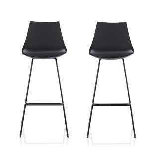 Renea Bar Stools In Black Faux Leather Seat Pad In A Pair