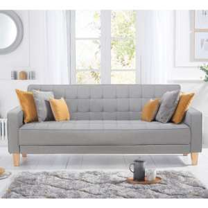 Resita Linen Fabric Upholstered Sofa Bed In Grey