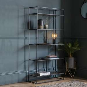 Retiro Display Unit In Antique Gold With Black Metal Frame