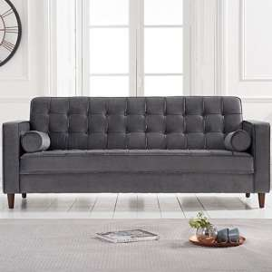 Revati Velvet 3 Seater Sofa In Grey