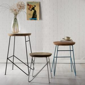 Reverso Wooden Set of Side Tables In Reclaimed Wood And Iron