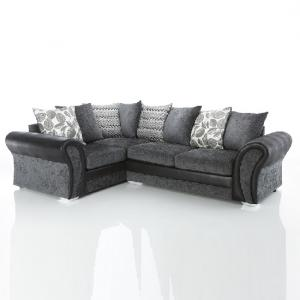 ... Revive Corner Sofa In Black PU And Grey Fabric_2