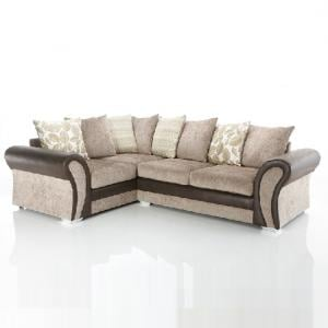 Revive Corner Sofa In Brown Faux Leather And Mink Fabric