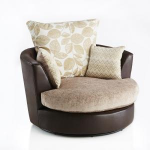 Revive Swivel Sofa Chair In Brown PU And Mink Fabric