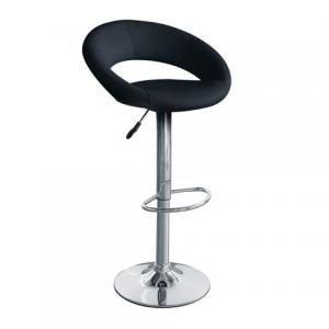 Style Bar Stool Oval In Black Faux Leather
