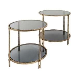 Rhianna Set Of 2 Glass Side Table In Antique Brushed Gold