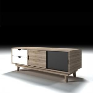 Rhine Wooden TV Stand In Sonoma Oak Grey And White