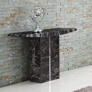 Rialto Marble Console Table In Black With Chrome Inserts