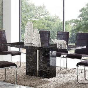 Rialto Marble Dining Table In Black With Chrome Inserts